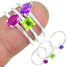 925 silver 3.28cts natural red ruby purple amethyst 3 rings size 6.5 r92448