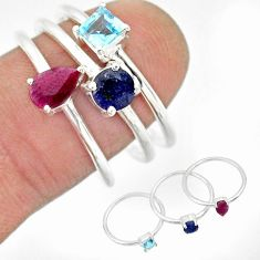 925 silver 3.42cts natural red ruby sapphire blue topaz 3 rings size 8 r85178