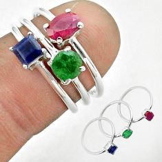 925 silver 2.98cts natural red ruby sapphire emerald 3 rings size 6 t50920