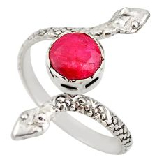925 silver 3.01cts natural red ruby snake solitaire ring jewelry size 9 d46289