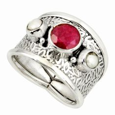 925 silver 4.71cts natural red ruby white pearl ring jewelry size 8 r37924
