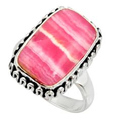 925 silver 8.73cts natural rhodochrosite inca rose solitaire ring size 7 r28004