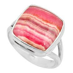 925 silver 14.12cts natural rhodochrosite inca rose solitaire ring size 9 r28033