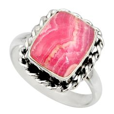 925 silver 6.31cts natural rhodochrosite inca rose solitaire ring size 9 r28038