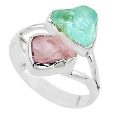 925 silver natural rose quartz aquamarine raw fancy ring size 8.5 t52300