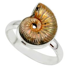 925 silver 7.40cts natural russian jurassic opal ammonite ring size 10 r39619