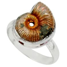 925 silver 8.22cts natural russian jurassic opal ammonite ring size 7 r39600
