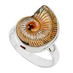 925 silver 10.17cts natural russian jurassic opal ammonite ring size 7 r39613