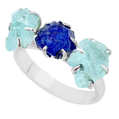 925 silver 9.86cts natural sapphire aquamarine raw 3 stone ring size 8 t7092