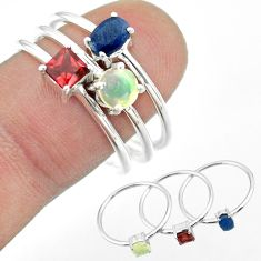 925 silver 3.14cts natural sapphire ethiopian opal garnet 3 rings size 9 t50996