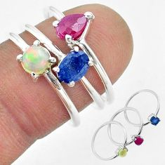 925 silver 2.97cts natural sapphire ethiopian opal ruby 3 rings size 6.5 t50912