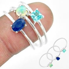 925 silver 3.25cts natural sapphire ethiopian opal topaz 3 rings size 9 t51113