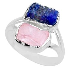 925 silver 10.19cts natural sapphire raw rose quartz rough ring size 8 r73847