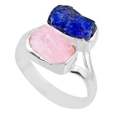 925 silver 11.07cts natural sapphire raw rose quartz rough ring size 9 r73844