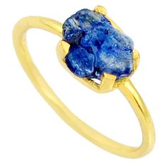 925 silver 4.03cts natural sapphire raw 14k gold solitaire ring size 8 r70609
