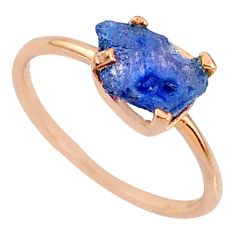 925 silver 3.65cts natural sapphire raw fancy 14k rose gold ring size 7 r70624