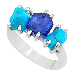 925 silver 8.38cts natural sapphire rough raw turquoise ring size 7 t15091