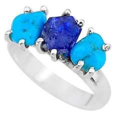 925 silver 7.48cts natural sapphire rough raw turquoise ring size 8 t15073