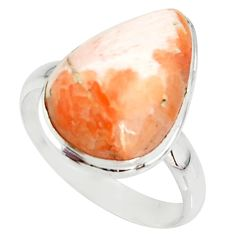 925 silver 12.58cts natural scolecite high vibration crystal ring size 10 r39454