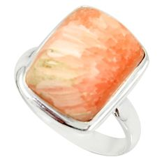 925 silver 10.41cts natural scolecite high vibration crystal ring size 9 r39458