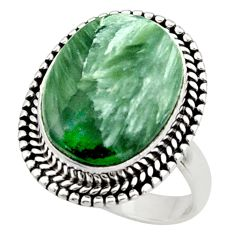 925 silver 10.70cts natural seraphinite (russian) solitaire ring size 7 d47464