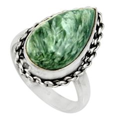 925 silver 9.49cts natural seraphinite (russian) solitaire ring size 7 r28298