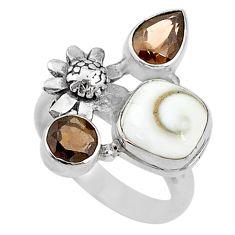925 silver 6.26cts natural shiva eye smoky topaz flower ring size 7.5 t10513