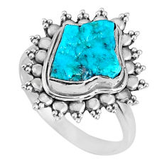 925 silver 5.06cts natural sleeping beauty turquoise rough ring size 7.5 r62232