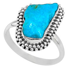 925 silver 6.82cts natural sleeping beauty turquoise rough ring size 8.5 r62344