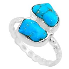 925 silver 7.57cts natural sleeping beauty turquoise rough ring size 7.5 r65635