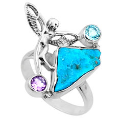 925 silver 7.67cts natural sleeping beauty turquoise raw ring size 8.5 r66673