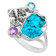 925 silver 7.29cts natural sleeping beauty turquoise raw ring size 9.5 r66680