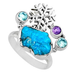 925 silver 8.83cts natural sleeping beauty turquoise raw ring size 9.5 r66694
