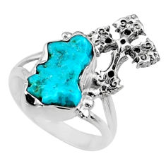 925 silver 7.04cts natural sleeping beauty turquoise raw ring size 7.5 r66697