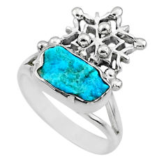 925 silver 5.54cts natural sleeping beauty turquoise raw ring size 7.5 r66699