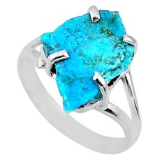 925 silver 6.83cts natural sleeping beauty turquoise rough ring size 9.5 r66869