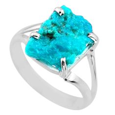 925 silver 7.24cts natural sleeping beauty turquoise rough ring size 11 r66872