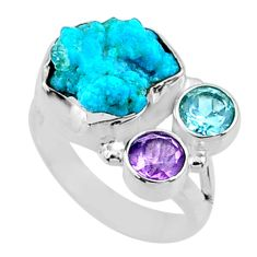 925 silver 8.55cts natural sleeping beauty turquoise rough ring size 6 r66848