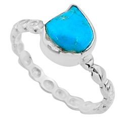 925 silver 3.65cts natural sleeping beauty turquoise rough ring size 7 r65595