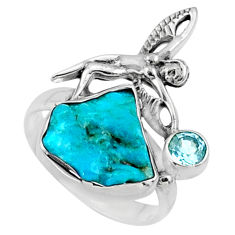 925 silver 7.33cts natural sleeping beauty turquoise raw ring size 7 r66667