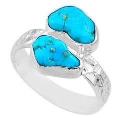 925 silver 10.32cts natural sleeping beauty turquoise rough ring size 8 r65630