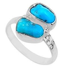 925 silver 7.91cts natural sleeping beauty turquoise rough ring size 8 r65640