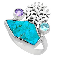 925 silver 7.97cts natural sleeping beauty turquoise raw ring size 8 r73356