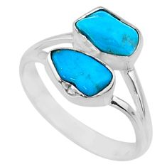 925 silver 9.27cts natural sleeping beauty turquoise raw ring size 9 r65624