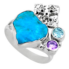925 silver 7.53cts natural sleeping beauty turquoise raw ring size 9 r66684