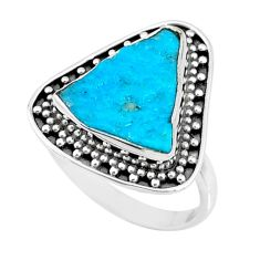 925 silver natural sleeping beauty turquoise raw solitaire ring size 8 r73477