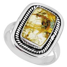 925 silver 5.58cts natural star rutilated quartz octagan ring size 7 r60364