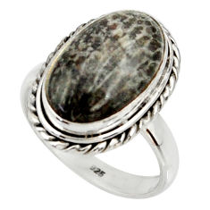 925 silver natural stingray coral from alaska oval solitaire ring size 8 r28064