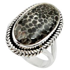 925 silver natural stingray coral from alaska solitaire ring size 7.5 r28123