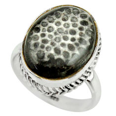 925 silver natural stingray coral from alaska solitaire ring size 8.5 r28730